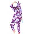 Пижама детская Единорог фиолетовый с рисунком на рост 125-130см на молнии Кигуруми