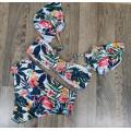 Купальник разноцветный с фламинго и цветами со съемными рукавами и поясом М
