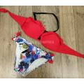 Купальник 17069 Красный лиф с оборками плавки с цветами   S