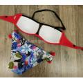 Купальник 17069 Красный лиф с оборками плавки с цветами  M