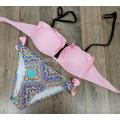 Купальник 17069 Розовый лиф с оборками плавки с орнаментом  M
