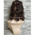 Накладка из искусственных волос темно-коричневый цвет с красным отливом волнистая с челкой и пробором
