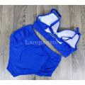 Купальник раздельный 3XL синий с высокими плавками