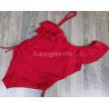 Купальник совместный 4XL красный на одно плечо с воланами