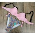 Купальник 1829 Бледно-розовый лиф плавки с цветами   L