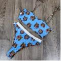 Купальник голубой с тиграми высокие плавки лиф-топ М