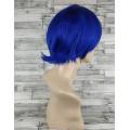 Парик синий ровный 20см с косой челкой короткий искусственный аниме косплей cosplay