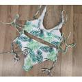 Купальник лиф-топ на шнуровке высокие плавки на шнуровке белый принт листья М