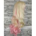 Парик волнистый двухцветный блонд с розовым