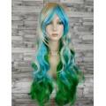 Парик разноцветный 70см с косой челкой волнистый двухцветный блонд зеленый