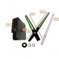 Часовой механизм маленький 12 см минутная стрелка со стрелками светящимися в темноте, стрелки с люминесцентным покрытием без ушка