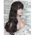 Парик женский длинный волнистый коричневый темно-каштановый с челкой и пробором 70см